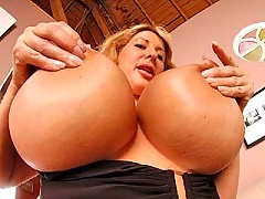 Sexy blonde mommy with huge tits gets her pussy screwed hard