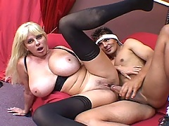 Mature blonde gets her holes stuffed with cock
