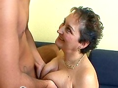 Old fatty mamma gets young guy